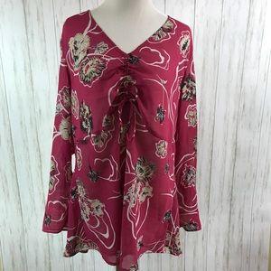 Lane Bryant 18/20 Floral Sheer Blouse Long Sleeve